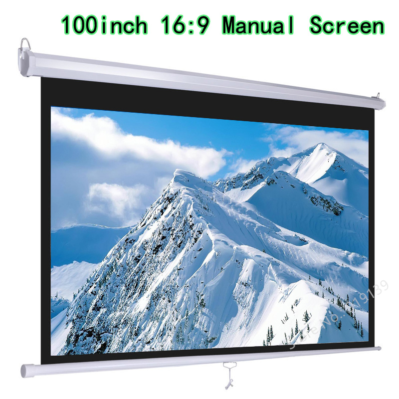 HD Widescreen 100inch Diagonal 16x9 Pull Down Projection Manual 3D Projector Screen With Auto Self Lock