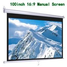 HD Широкоформатный 100 дюймов Диагональ 16x9 вытягивающийся проекционный ручной 3D проектор экран с автоматической самоблокировкой костюм для кино офиса
