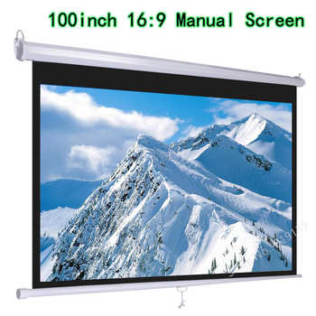 HD Widescreen 100inch Diagonal 16x9 Pull Down Projection Manual 3D Projector Screen With Auto Self-Lock Suit For Cinema Office - DISCOUNT ITEM  5 OFF Consumer Electronics