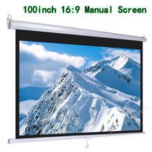 HD Widescreen 100inch Diagonal 16×9 Pull Down Projection Manual 3D Projector Screen With Auto Self-Lock Suit For Cinema Office