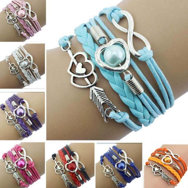 1 Pza infinito amor corazón pulseras perla amistad pulsera cuero antiguo encanto pulsera baratija joyería accesorios pulsera
