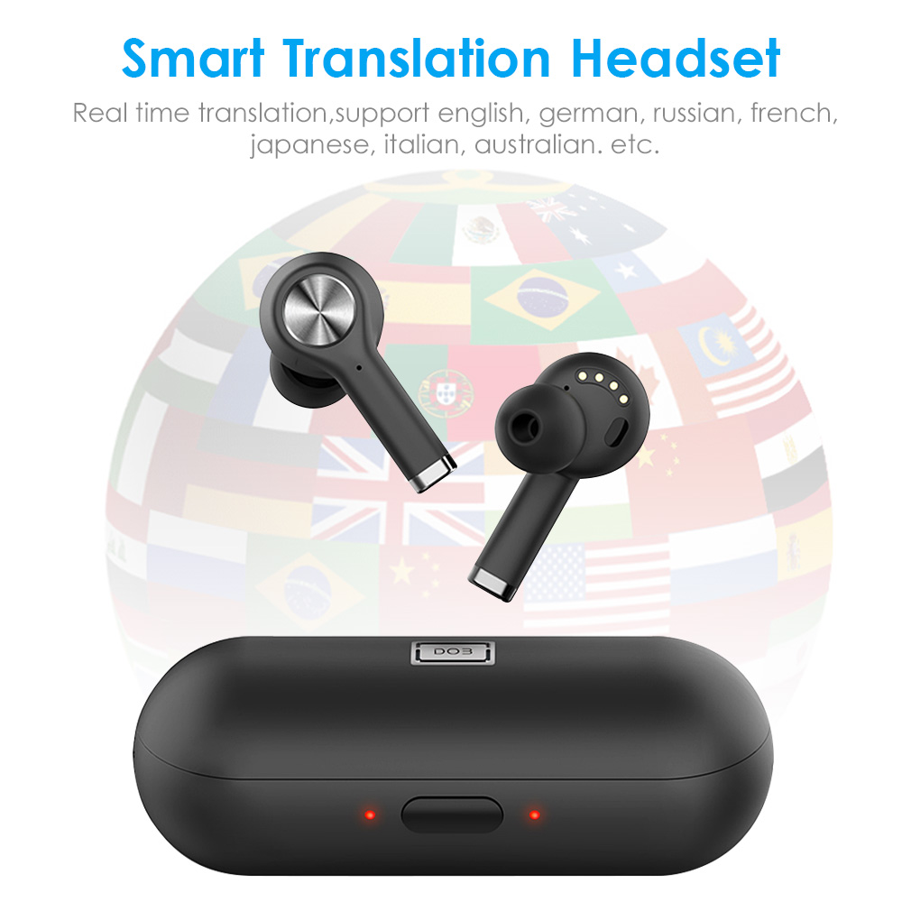 Newest <font><b>19</b></font> Languages Voice Translator <font><b>TWS</b></font> Earphone Wireless Bluetooth Headset Smart Translation Headset Bluetooth 5.0 In Earbuds image