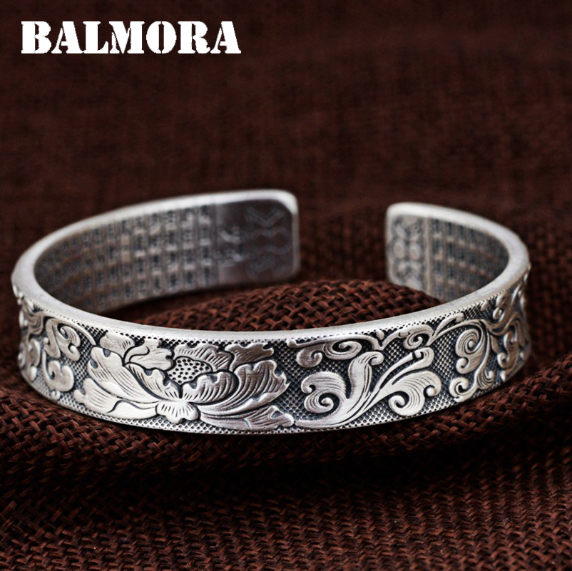 BALMORA 990 Pure Silver Peony Flower Open Bangles for Women Mother Gift about 17cm Bracelet Buddhistic Jewelry Esposas SZ0509BALMORA 990 Pure Silver Peony Flower Open Bangles for Women Mother Gift about 17cm Bracelet Buddhistic Jewelry Esposas SZ0509