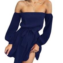 Mayhall Women Full Sleeve Chiffon Dress 2018 Spring Dresses Off Shoulder Slash Neck Bowknot Vestidos Tenue Clubwear Sexy MH049