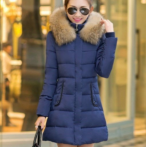080ae9c24646 Women s Winter Slim Fit Jackets Fur Hooded Women Medium Long Winter Jacket  and Coat Cotton Padded Outerwear Black Blue Red Green