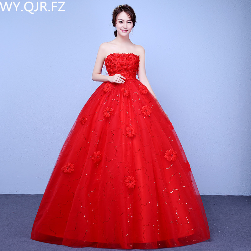 US $37.54 10% OFF|XXN020#spring summer new 2019 Strapless lace up red  wedding dress plus size long Bride\'s Dresses Pregnant woman cheap  wholesale-in ...