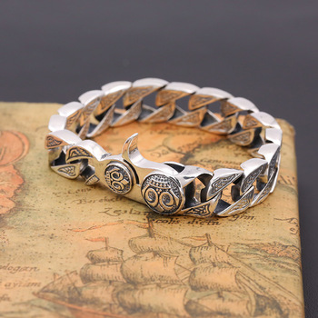 S925 Sterling Silver Thai Silver Jewelry Vintage Personality men's Rough Creative Spring Hole Pop Bracelets&Bracelet Homme