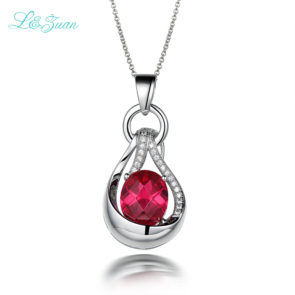 l&zuan trendy natural 5.26ct red gems luxury pendant ≠cklace for women sterling silver jewelry necklace for women цены онлайн