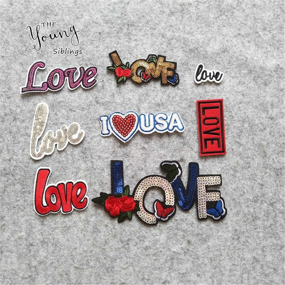 High quality Love Letter iron on patches jeans hat Decor embroidery Badge Stickers stripes for Clothes DIY popular Accessoriese