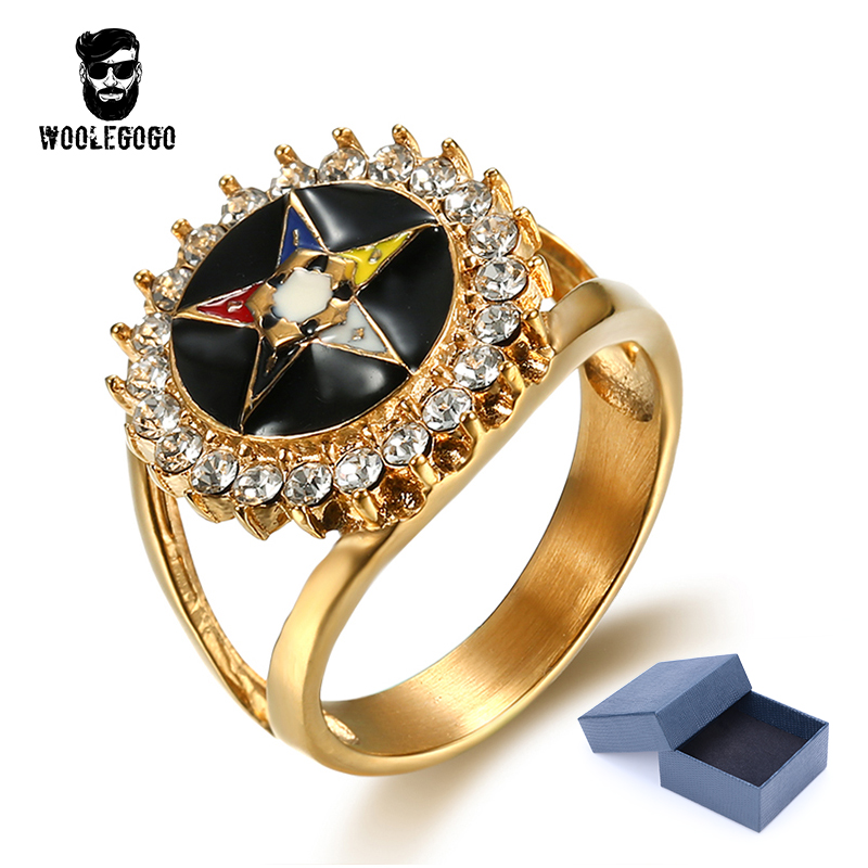 Rhinestone Pentagram Ring Mens 316 Stainless Steel Hollow Star CZ Crystal Ring Enamel Gold Rings Men Jewelry Wedding Band Bagues