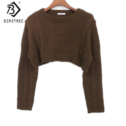 2017, Новая мода осень Для женщин пикантные укороченный свитер для девочки Европа и Америка пуловеры трикотажные О-образным вырезом черный мя...