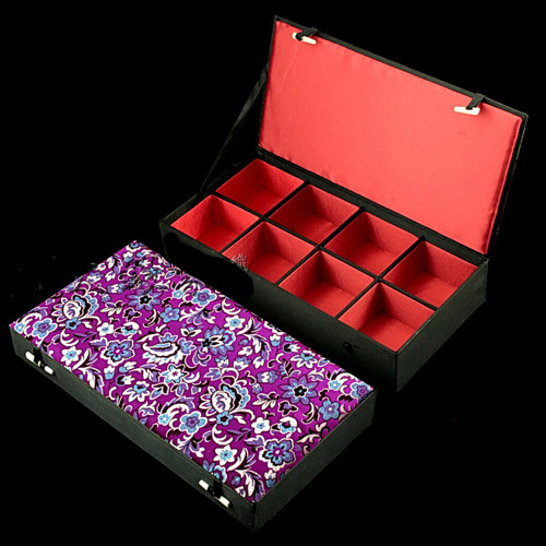 Luxury 8 grid Jewelry Presentation Boxes Silk Print Trinket High Quality Watch Collection Bangle 1pcs mix colo