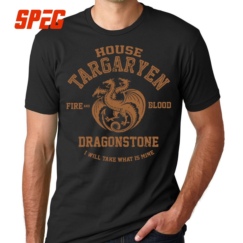 T     Shirts   Vintage House Targaryen Fire and Blood Dragonstone Tops Game of Throne Cotton   T  -  Shirts   Men Short Sleeve Tees Plus Size