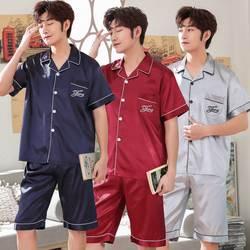 2019 Популярные летние шелковые пижамы наборы для Для мужчин короткий рукав пижамы Пижама Мужская удобная домашняя одежда Lounge одежда