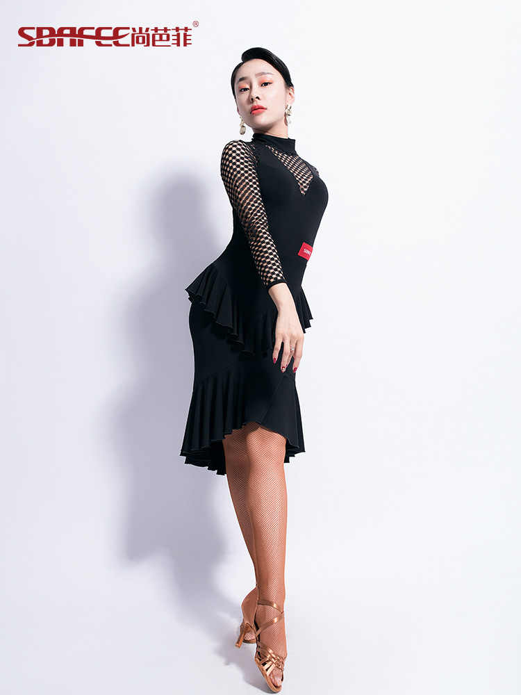 27aee901815a ... new woman Latin Dance Dress Female Long Sleeve Dance Practice ballroom  dance competition dresses ...