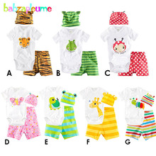 3PCS/0-18Months/Summer Infant Tracksuit Cartoon Jumpsuit Rompers+Shorts+Hats Newborn Clothing Set Baby Boys Girls Clothes BC1272
