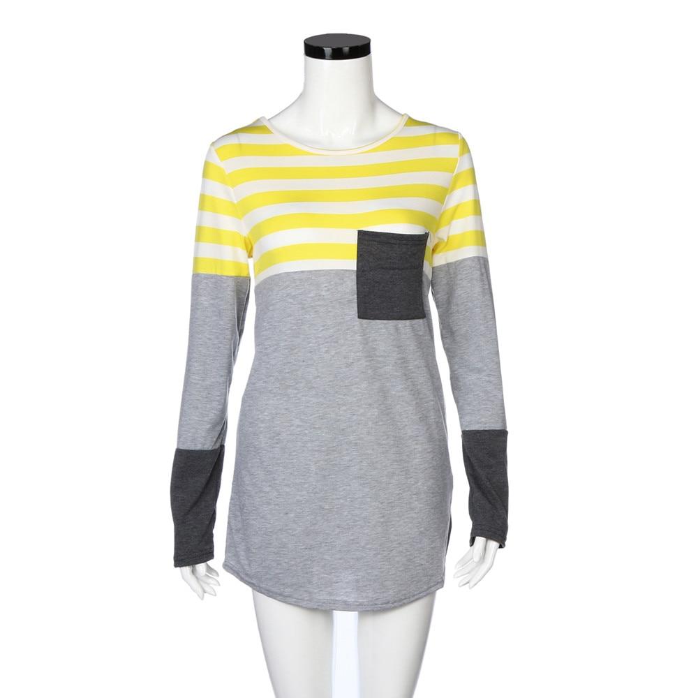 Automne Longues De Haute Qualité À Femmes Tops Sexy Blusas Chemise jaune Manches Mode Rayé Casual Été V Bleu Nouveau Profonde Feitong Chemises rouge v78a6