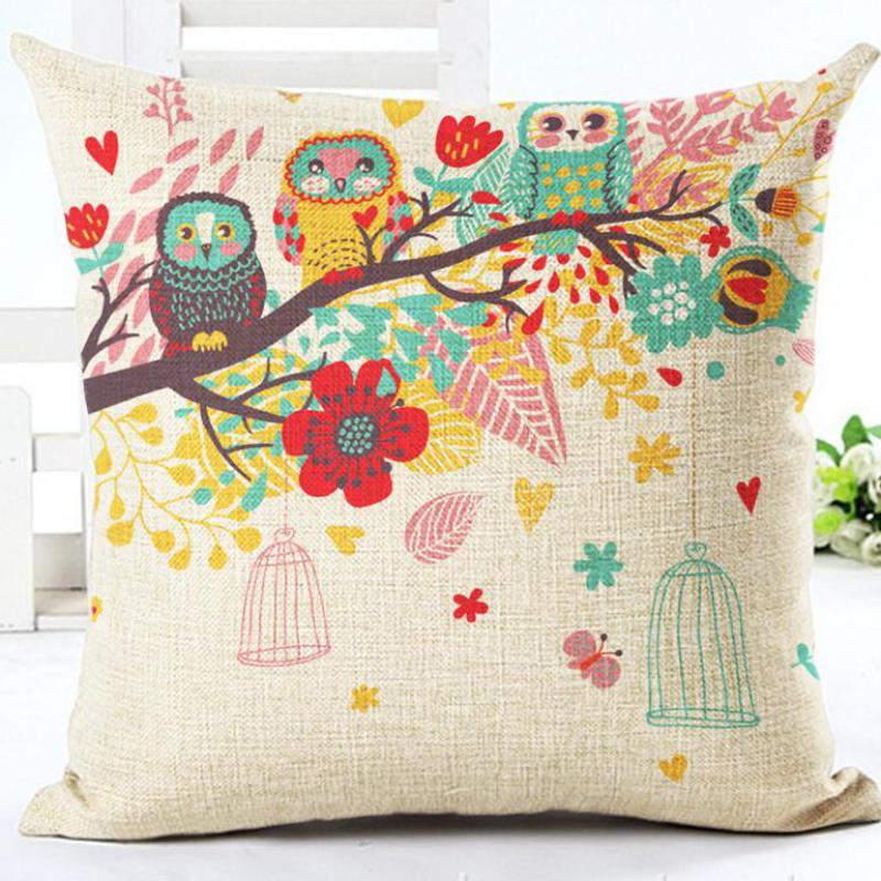 Manufacturers Direct Supply Color Flower Tree Birdcage Digital Printing Linen Throw Pillow Cushion For Home Decor
