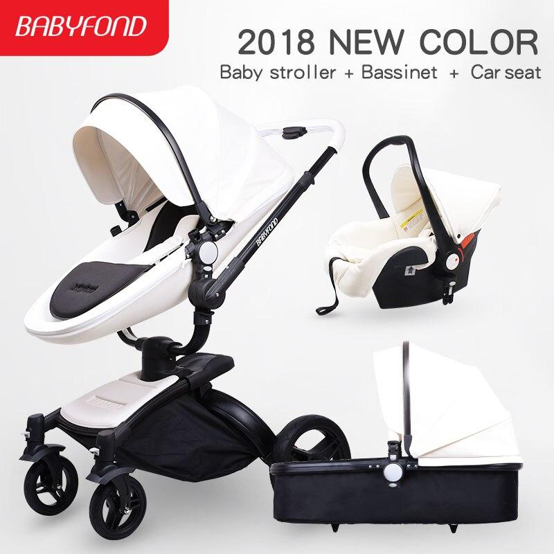 2018 nouvelle couleur babyfond bébé poussette en cuir qualité 3 in1 bébé poussette noir corps noir cadre blanc en cuir bébé transport