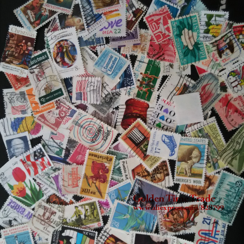 100 Pieces / Lot , USA / American Used Postage Stamps With Post Mark Collecting , Free Shipping Trimbres Stamps
