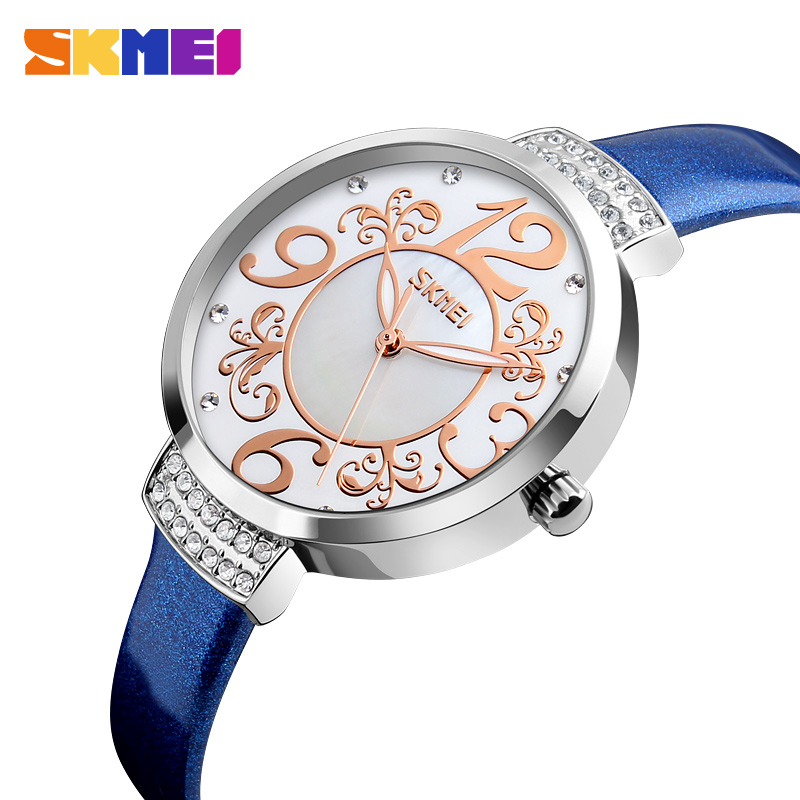 SKMEI Women Watch Leather Fashion Ladies Watches Top Brand Luxury Waterproof Quartz Wristwatches Montre Femme Relogio Feminino classic simple star women watch men top famous luxury brand quartz watch leather student watches for loves relogio feminino