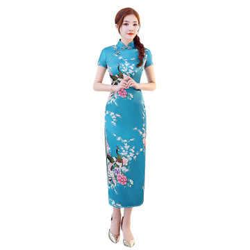 8 색 중국 전통 의상 여성 꽉 bodycon 복장 cheongsam 당나라 인쇄 분할 드레스 섹시한 기모노