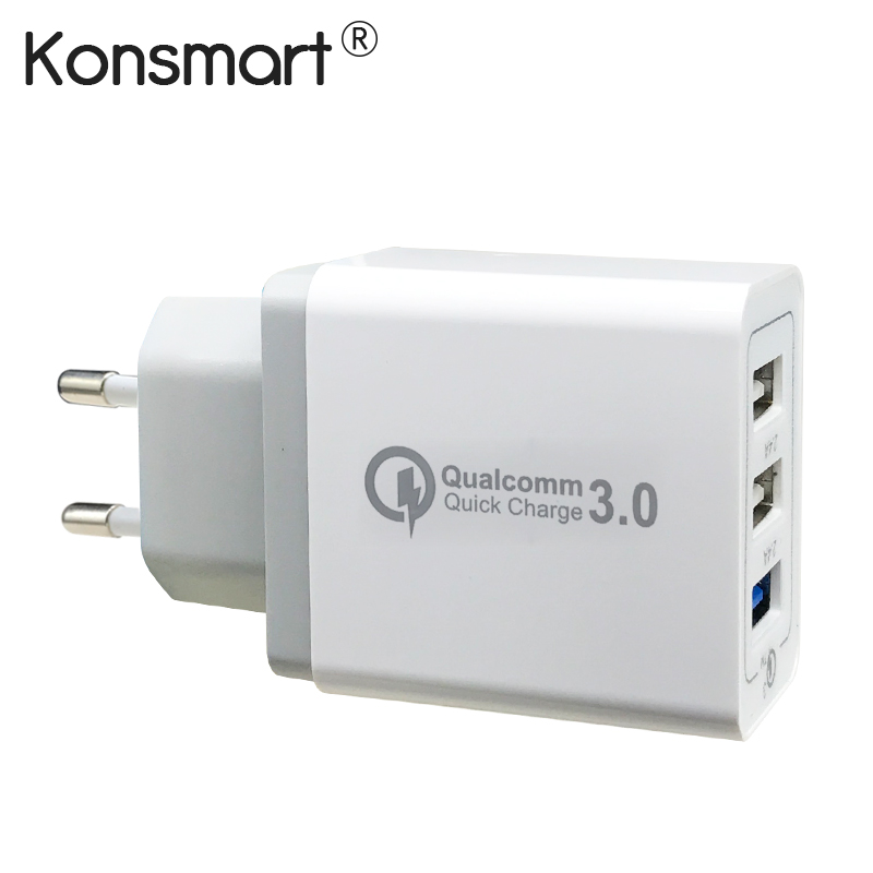 KONSMART Quick Charger 3.0 USB Charger QC3.0 Fast Mobile Phone Charger Quick Charge 2. Compatible USB charger for Samsung Xiaomi