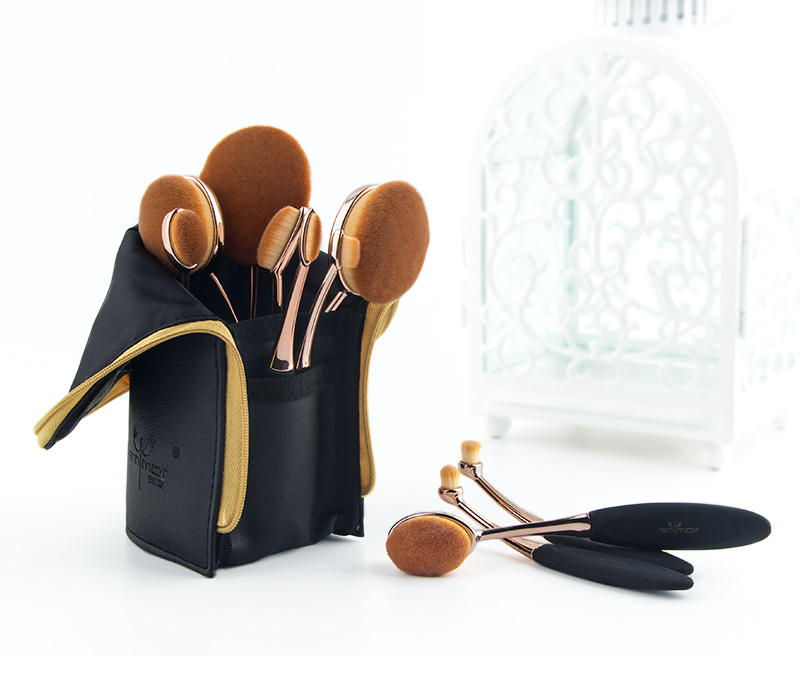 Anmor Professionnel 10 PCS Rose Or Ovale Maquillage Pinceaux extrêmement Souple Make Up Fondation Pinceau Poudre Kit avec Noir sac 2