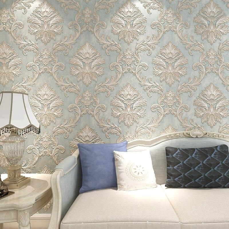 Classic European Style Damascus Non-woven Fabric Wallpaper 3D Stereoscopic Relief Flocking Wallpaper Living Room Papel De Parede