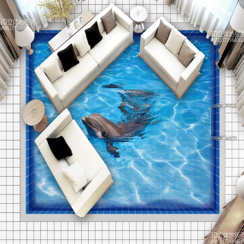 ФОТО Free Shipping Custom A pool water green Lake 3D floor painting wallpaper bedroom kitchen floor mural