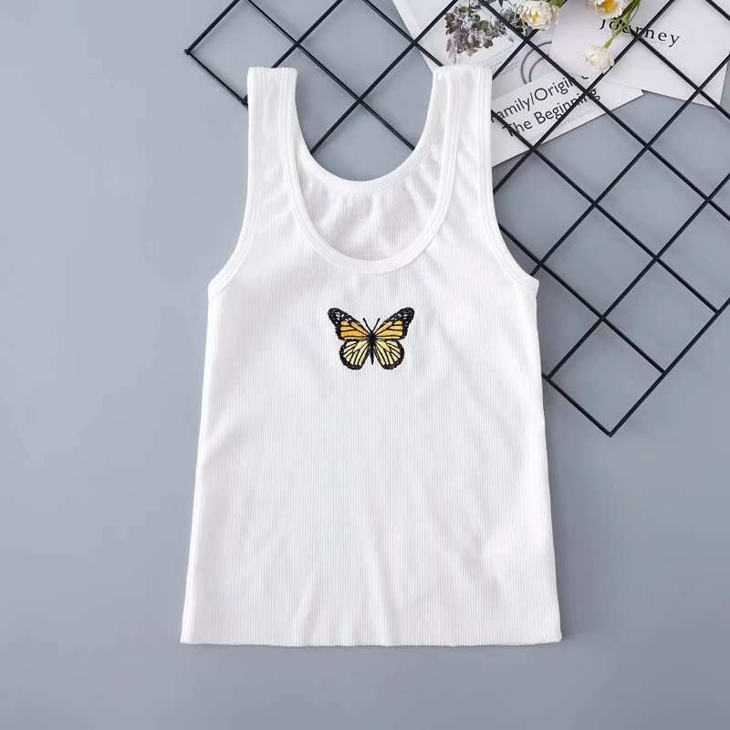 Vest Short Tank-Tops Embroidery Slim-Top Navel-Cropped Stretch Butterfly White Sweet