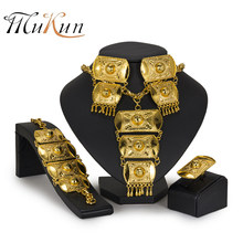 MUKUN Dubai Big jewellery Indian Jewelry Set Fashion Necklaces Bangle Earrings Sets For Women Dress Nigeria Bridal Accessories(China)