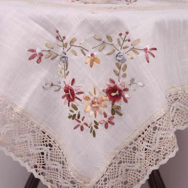 Tienda Online Pastoral Floral Bordado Mantel Para Mesablanco De - Manteles-para-bordar