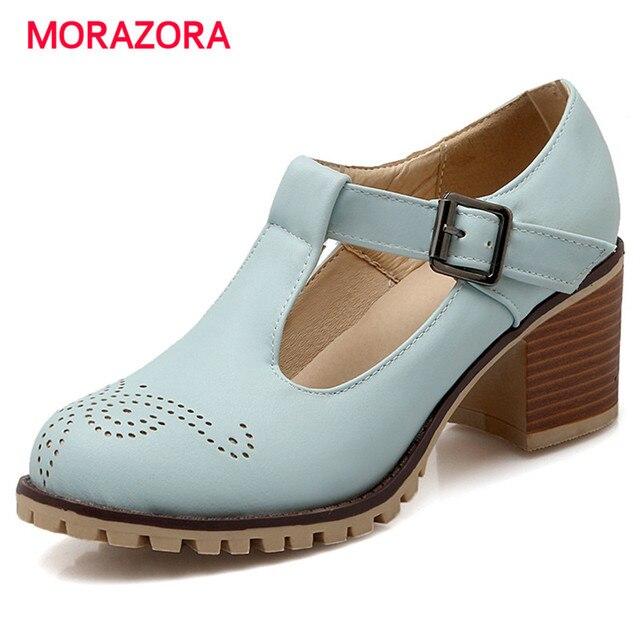 9b35f26296 MORAZORA tamaño grande 34-43 altos talones mujer moda retro zapatos de  plataforma hebilla bombas