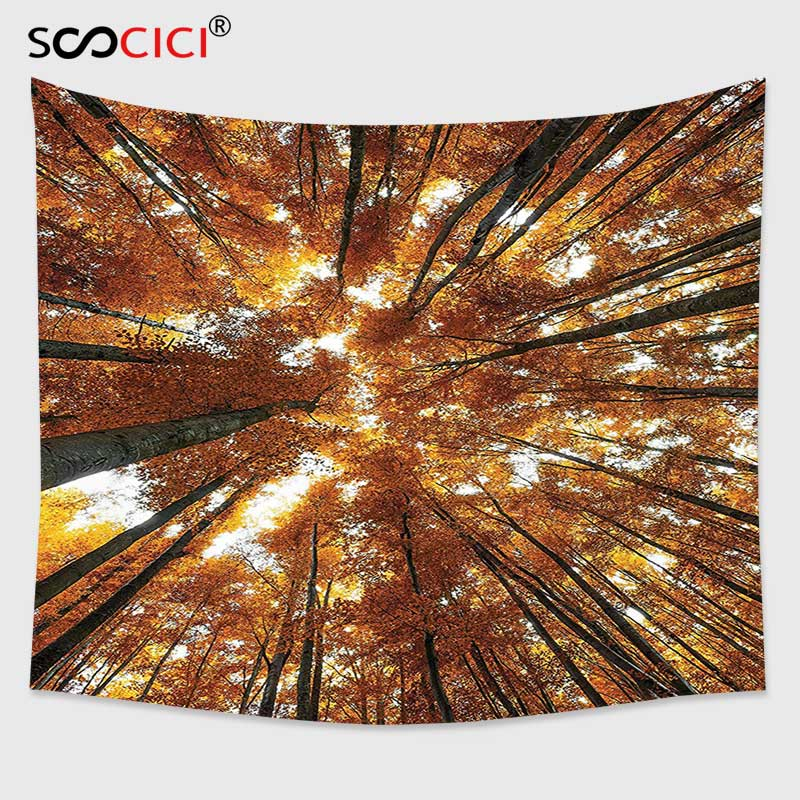 Cutom Tapestry Wall Hanging,Forest Big Beech Trees in Fall with Rays Countryside Trunk Serene Idyllic Landscape Orange