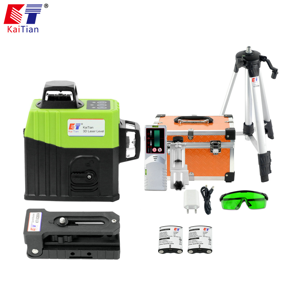 KaiTian 12 Lines Laser Level Tripod Self-Leveling Cross Horizontal 360 Vertical Green 3D Lasers Receiver Beam Line Levels Tools 2 lines laser level self leveling horizontal vertical cross line mini laser 110 degree levels instrument tools 1h1v laser beam