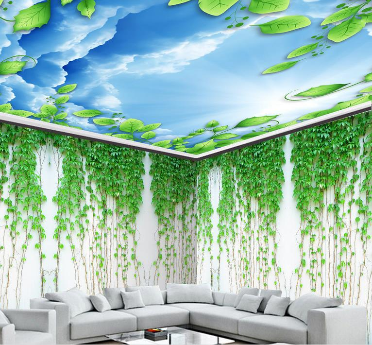 custom 3d ceiling murals The ivy plant Green wallpaper for bathroom 3d sky ceiling photo european wallpapers ceiling Обои