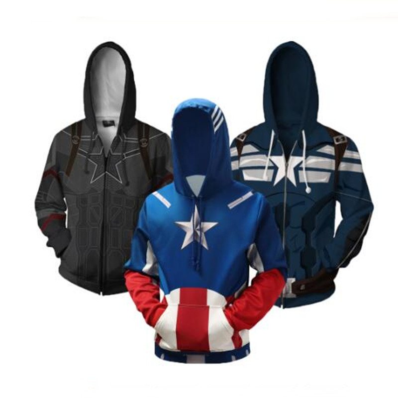Captain America Boys Hoodies Training Sweatshirts Hoody Casual 3d Full Colored BlouseS-shirts Pullover Children's Jackets Coats
