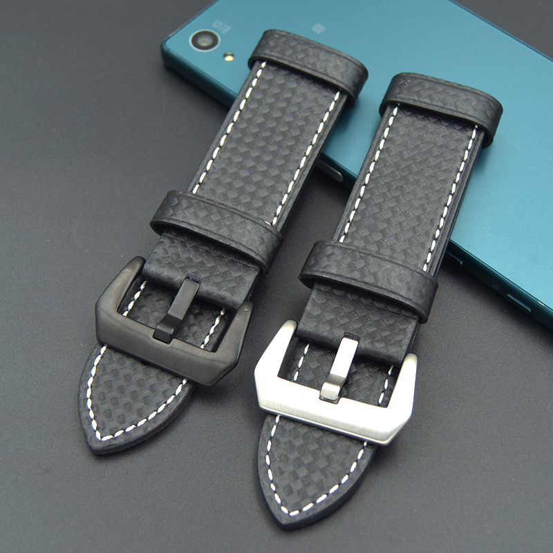 Fashion Watch band 20mm/22mm/24mm/26mm men New Carbon fiber material watch strap stainless steel black pin buckle for Casio PAN