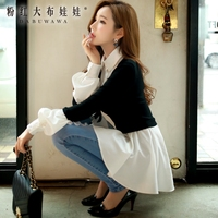 Fake Two Sweater Female Pink Doll 2015 Winter Long Sleeved Pullover Korean Version Of The New