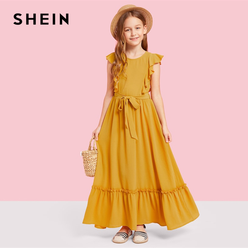 SHEIN Kiddie Ginger Zip Back Ruffle Hem Teenage Girl Party Maxi Dress 2019 Summer Sleeveless A Line Kids Girls Dresses