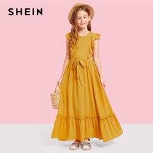 SHEIN Kiddie Ginger/Вечерние платья макси для девочек-подростков с рюшами на спине и молнией 2019 г. летние платья без рукавов для девочек