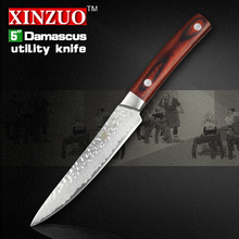 xinzuo 2016 NEW 5″ inch Multi-purpose knife Damascus kitchen knife utility kitchen tool damascus utility knife FREE SHIPPING