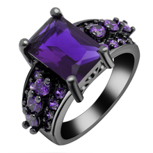Royal Blue Purple Pink Red White Color Ring Cubic Zircon Wedding Rings Hot Vintage Jewelry Wholesale Women Black