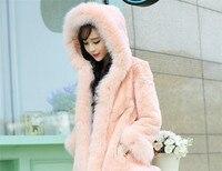 2017 invierno nueva moda con capucha imitación Fox Pieles de animales conejo abrigo bolsillo de lana gruesa caliente Pieles de animales oferta especial XS S m L XL XXL XXXL