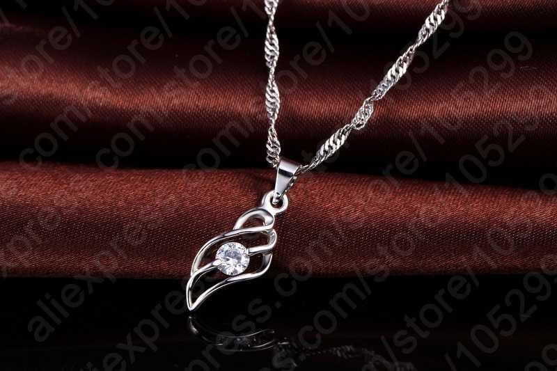 חדש הגעה פיין 925 תכשיטי כסף סטרלינג סטי נשים מעוקב Zirconia שרשרת & תליון & עגילי משלוח חינם