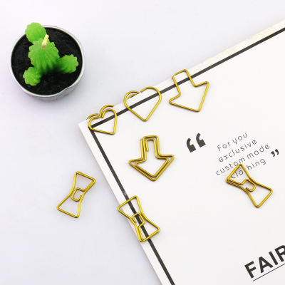 50 Clips/Pack Kawaii Gold Paper Clips Decorative Metal Cute Office Binder Clips Heart Clips For File Paper Organizer цена и фото