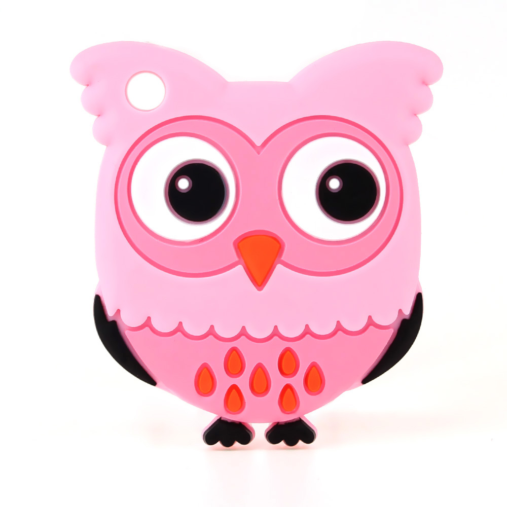 цены TYRY.HU 1pc Owl Silicone Teether Necklace Pendant Pacifier Chain Baby Teething Play Toys Nursing Food Grade Silicone BPA Free