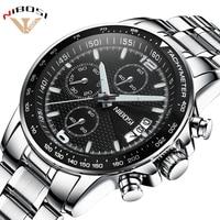 Топ новый NIBOSI роскошные часы известных брендов Для мужчин высокое качество спортивные часы в стиле милитари Кварцевые наручные часы Полный