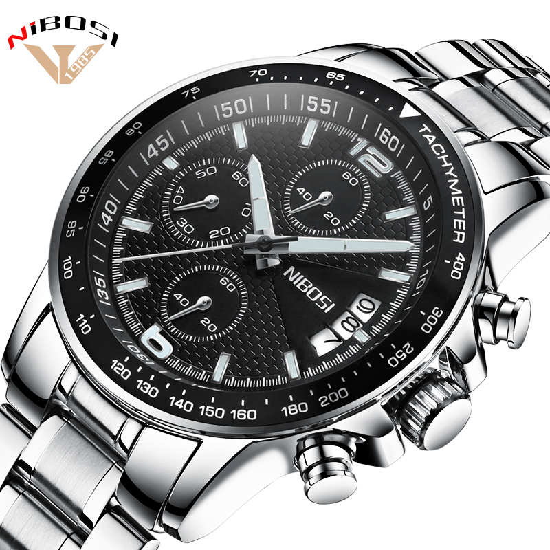 Top New NIBOSI Luxury Famous Brand Watches Men High Quality Sports Watches Military Army Quartz Wristwatches Full Steel Relogios